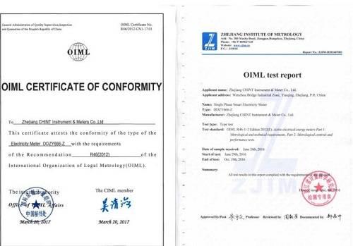 正泰仪表喜获全球第二张、中国首张R46证书