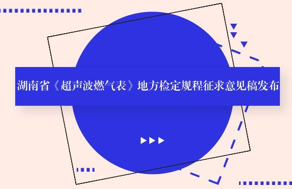 湖南省《超声波燃气表》地方检定规程征求意见稿发布