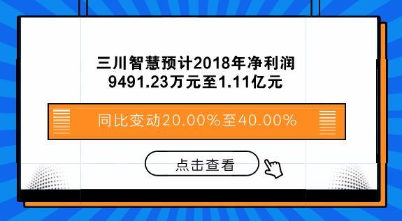 三川智慧预计2018年净利润9491.23万至1.11亿