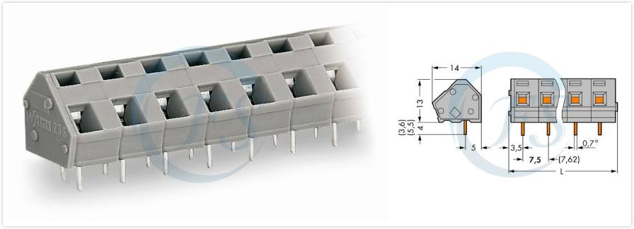 wago236端子排 pcb板防错插接线端子 mcs快速连接器 笼络式弹簧236