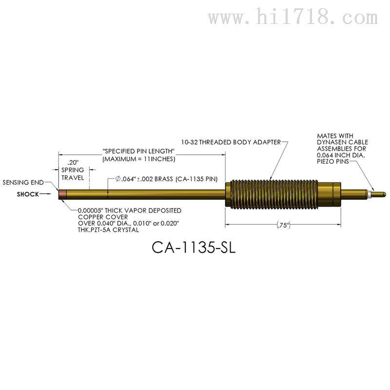 美国Dynasen压电探针CA-1135-SL,可定制弹性适配器