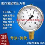 进口轴径向耐震不锈钢压力表EN837-1油压气压真空负压表带MPa/psi/bar