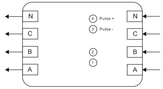 DTS866三相四线直接式接线图 互感式壳体开模中待续 DTS866三相四线电流互感式接线图 端口说明: 无源脉冲输出端口:3(-)、4(+)可作为校表脉冲和电能脉冲计量接口 RS485通讯端口:1(A)、2(B) (液晶型)屏显说明: 屏显自检显示 88888.8.8 显示表常数C  XXXX 显示表地址高位 H XXXXXX 显示表地址低位 XXXXXX (系统默认为表号) 电量显示:  XXXXX.XX 备注:只有RS485型的才有表地址显示项。 指示灯说明 COM.为RS485通讯指示 黄色 (
