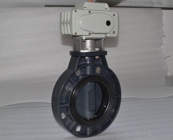 【厂家直销】UPVC塑料电动对夹蝶阀D971X-10S-40
