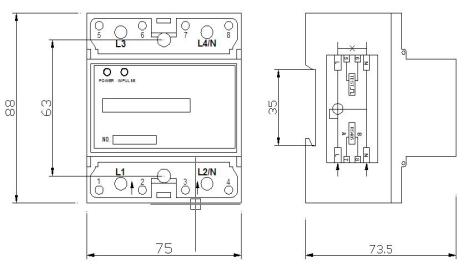 单相导轨式电能表( 带rs-485通讯接口 4p )