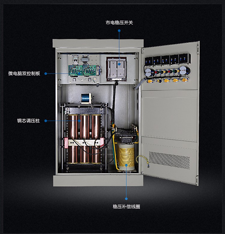 三相分调补偿式稳压器----适用场合: 本稳压器(稳压电源)广泛用于工厂企业、邮电通讯、学校机关、酒店宾馆等任何大功率用电部门的全方位稳压供电和单机稳压供电。该系列稳压器应在室内使用。 三相分调补偿式稳压器----性能特点: 输入电压 三相四线:175V-265V(相电压)300V-456V(线电压) 输出电压 三相:380V; 输出精度 1-5%(可调) 频 率 50Hz/60Hz 效 率 95%(功率等级50kvA上) 响应速度 1.