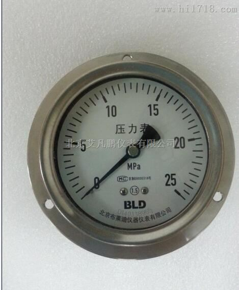 布莱迪-YTF-100轴向带边防腐压力表