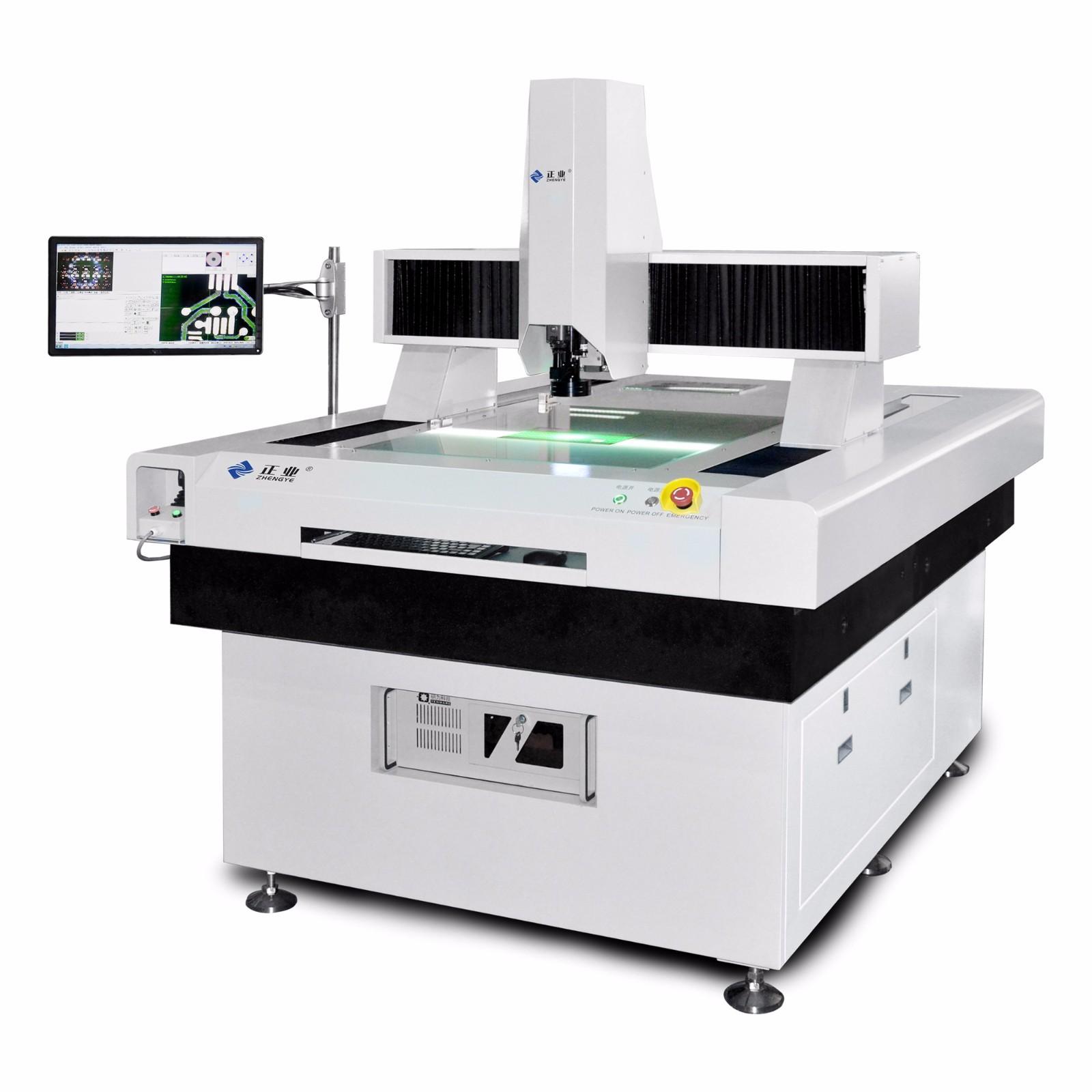 正业自动/手动二次元影像测量仪特点 1、光学系统品质优良,影像明亮清晰,图像还原性好; 2、X、Y向采用空气轴承,花岗石导向,可长时间工作,并保证了机械系统的稳定; 3、工作台使用德国无牙螺杆和滚珠,丝杆传动; 4、环形LED冷光源,使用寿命长,测量时不会产生热变形; 5、三轴采用日本松下伺服电机传动;