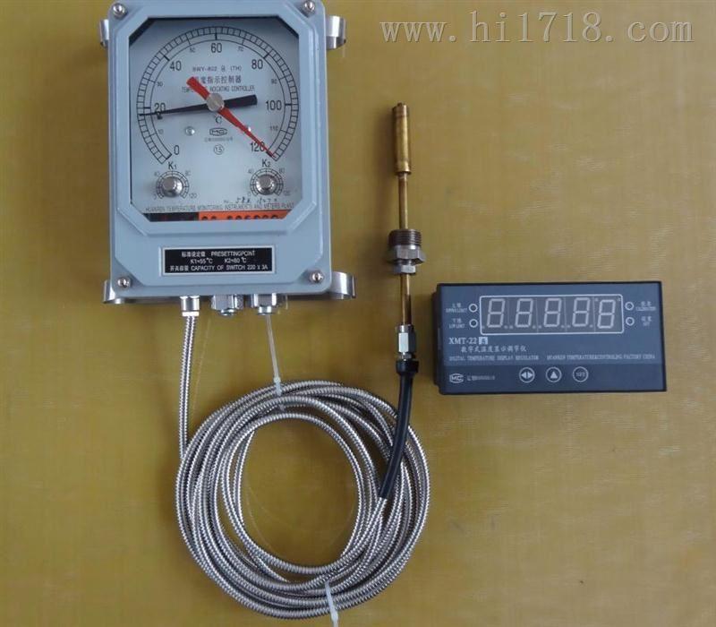 BWY-803A(TH)/XMT型温度指示控制器 1)、工作条件:环境温度为-40~+55,相对湿度为<95%。 (2)、测量范围:0~120 (3)、准确度:1.5级 (4)、开关性能:三组可调开关,各组开关在0~120范围内自由设定,开关动作误差3,开关切换差为62。 BWY803的标准设定点:K1=55、K2=65、K3=80 开关额定功率:AC:250V 3A;DC:250V 50W (电阻负载) BWY-803A(TH)/XMT型温度指示控制器厂家配套 数字温度显示调节仪 (